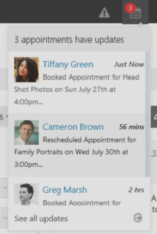 Web scheduler that tells you your updated appointments