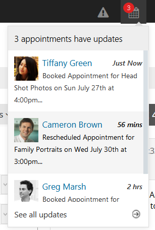 Login to your web scheduler to see appointment updates