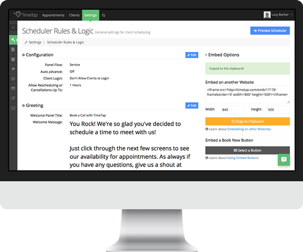 An appointment booking system that offers scheduler embedding