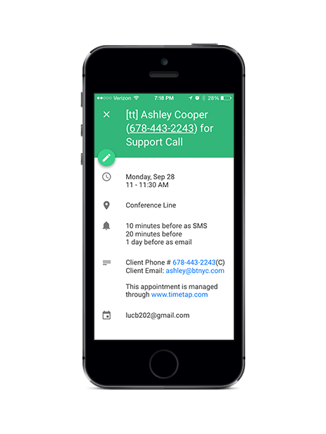 Import appointments with Google Calendar integration