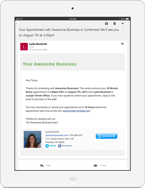 Automatic email and text alerts for online appointments