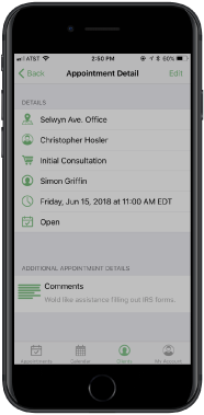 Easily view appointment notes for clients