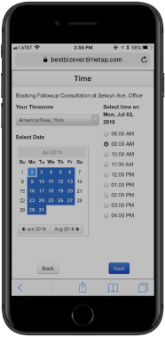 Set up online appointments with real-time scheduling