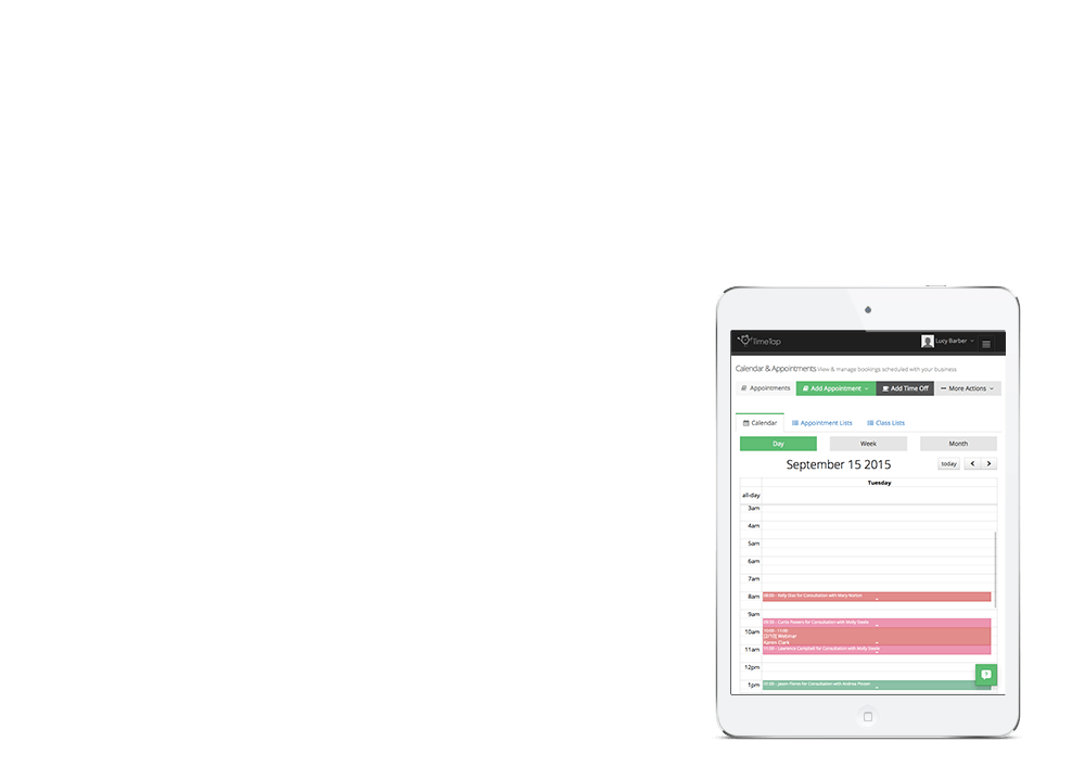 Manage appointments on your iPad with TimeTap's web calendar